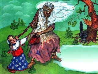 Баба-Яга отбирает корзинку у девочки