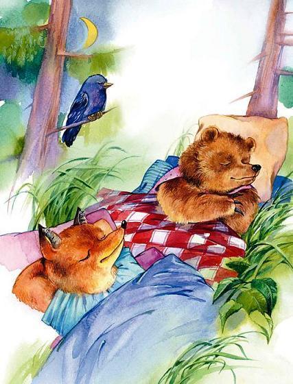 медвежонок и лисенок спят
