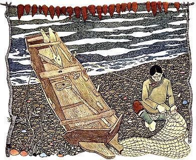 Бедняк Монокто на берегу чинит рыболовную сеть