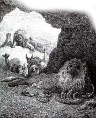 Больной лев и лисица