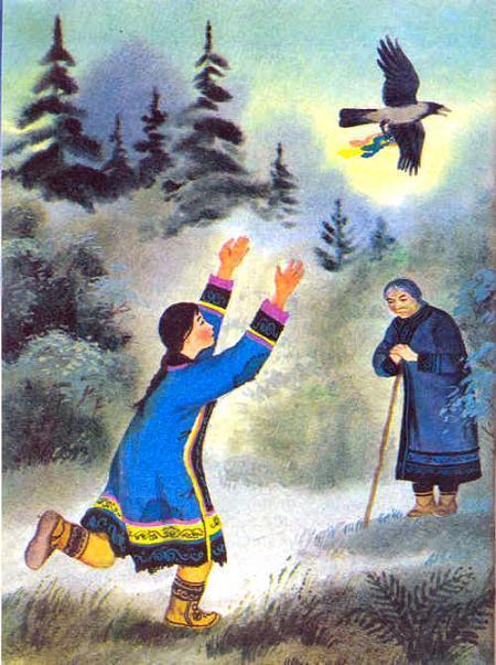 девушка бежит за птицей ворон уносит ленту