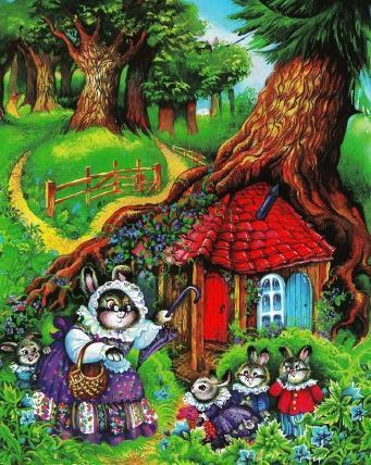 зайчиха и зайчата - Флопси, Мопси и Ватный Хвост