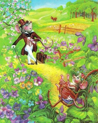 Джонни-городской мышонок на лужайке