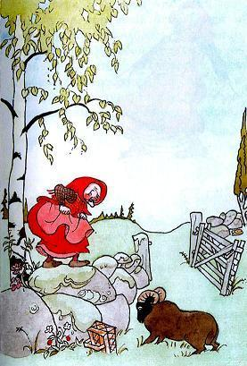 старушка Креса-Майя  забралась на камень от барана