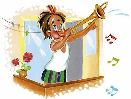 дядя Петя играет на трамбоне стоя на балконе