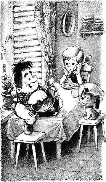 карлсон и малыш обедают