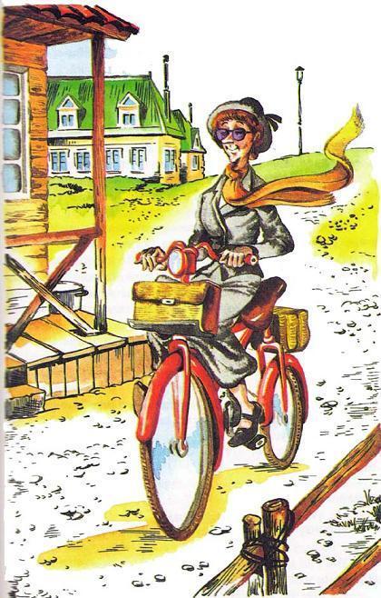 тетя едет на велосипеде
