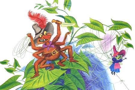 злой паук поймал Муху-Цокотуху в паутину