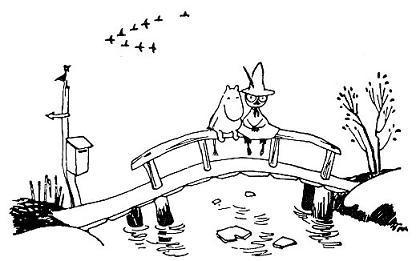 Муми-тролль и Снусмумрик сидят на перилах моста