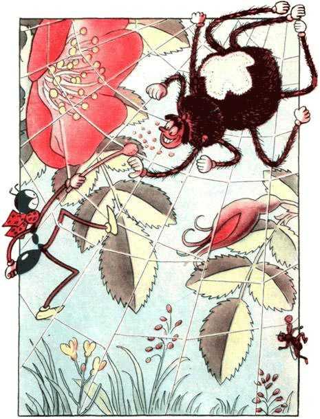 муравей Ферда в паутине и паук