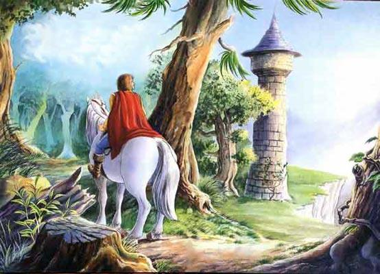 принц проезжал на коне мимо башни