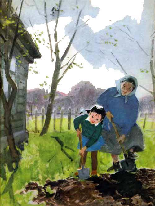 девочка Танюша и бабушка сажают смородину