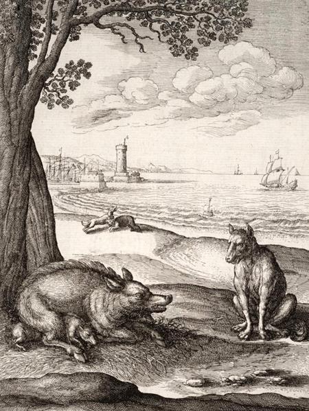 Свинья рожающая и волк