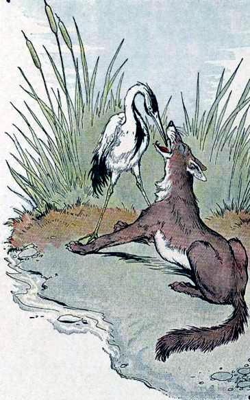 Волк и цапля (Волк и журавль) - Сказки и басни Эзопа ...
