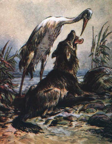 Волк и журавль - Сказки Льва Толстого: читать с картинками ...