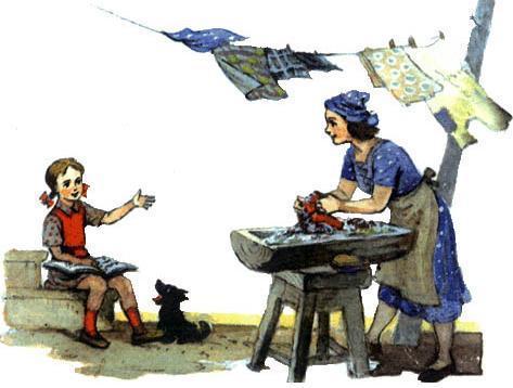 Элли читает книгу с Тотошкой мама Анна стирает белье