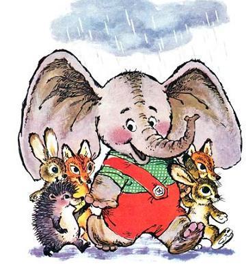 Слонёнок стал большим зонтиком. И лисята, и зайчата, и ежата — все прятались под его большими ушами от дождя