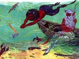 бросил мужик топор в воду черти под водой